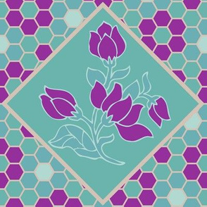2014-spring-flower-hexagons-mwcolors-4-viol-tan-mgrn