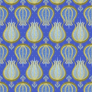 Blue tulips woven with gold and silver