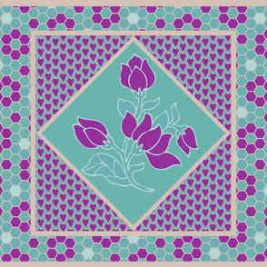 Batik flower quilt block 18X27 placemat VIOLET-TAN-MGRN