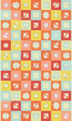 Random spring daisy cheater quilt
