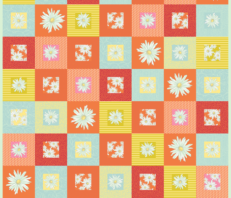 Random spring daisy cheater quilt fabric by alicestrange on Spoonflower - custom fabric