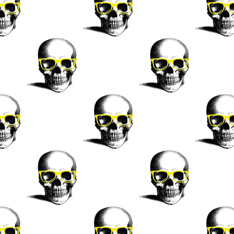 Hipster Skull Wayfarers, Yellow fabric by nicoleporter on Spoonflower - custom fabric