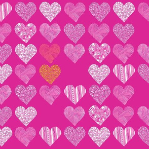 Patterned hearts on pink