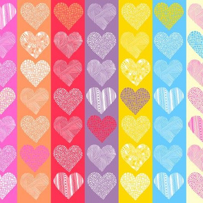 Small hearts on stripes colourful