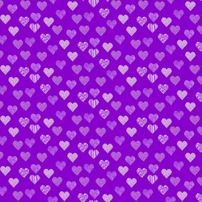 Small patterned hearts on purple