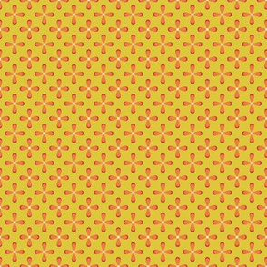 Floral Yellow checkerboard /Quilt1