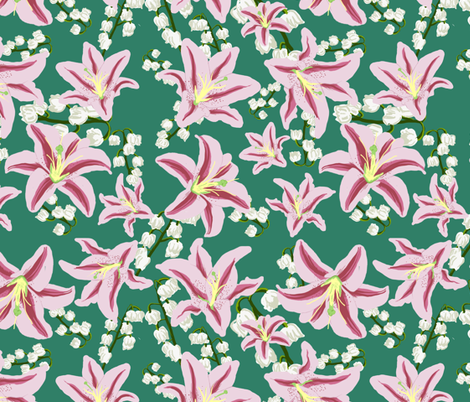 Teal Lillies fabric by shesamarshmallow on Spoonflower - custom fabric