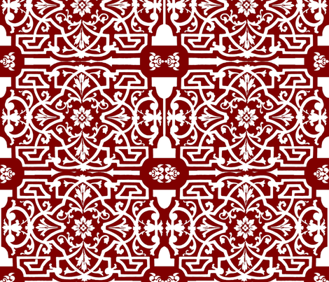 Red and white Chinese Design fabric by jabiroo on Spoonflower - custom fabric