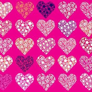 Hearts layers on fuschia