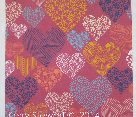 Eclectic patterned and floral hearts on fuschia background
