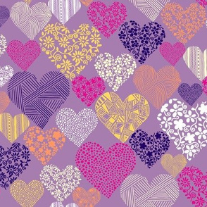 Eclectic Patterned Hearts on Purple Background