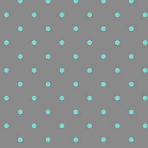 Little dots Aqua on Gray