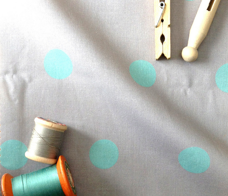Polka Dot - Turquoise on Gray