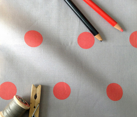 Polka Dot - Red on Gray