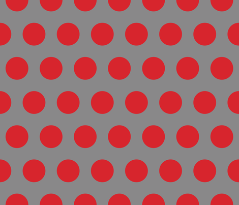 Polka Dot - Red on Gray XL fabric by juliesfabrics on Spoonflower - custom fabric