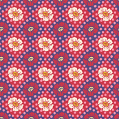 Dotty Flowers Red White Blue