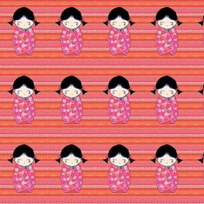 Kokeshi Doll - fushia floral kimono