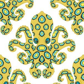 Blue Ringed Octopus on White