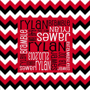 Personalised Birth Cushion Panel - Red Black and White Chevron