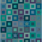 "Blue-green 42"" cheater quilt"