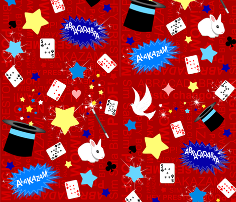 Magic / Magician pattern in red fabric by inspirationz on Spoonflower - custom fabric