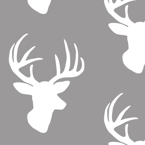 White deer on grey fabric by >>mintpeony<< on Spoonflower - custom fabric