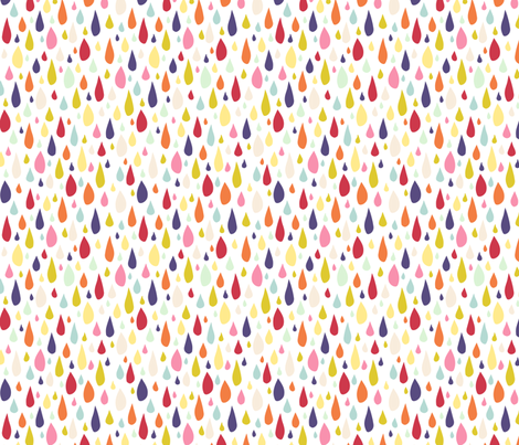 April Showers: Rainbow Rain Drops on White fabric by jennifercolucci on Spoonflower - custom fabric