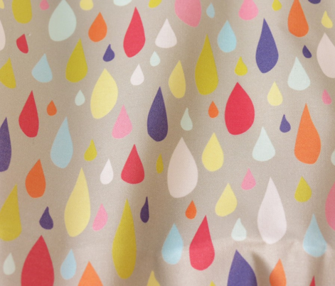 April Showers: Rainbow Rain Drops on Grey