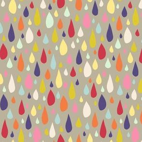 April Showers: Rainbow Rain Drops on Grey
