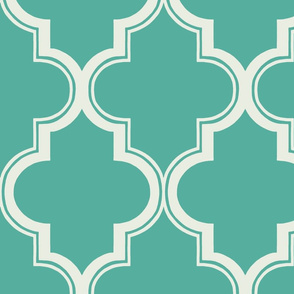 Fancy Quatrefoil in Teal and Soft White