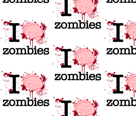 I Heart Zombies 8 inch fabric by risarocksit on Spoonflower - custom fabric