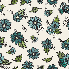 Flower Doodles - Teals on Creme