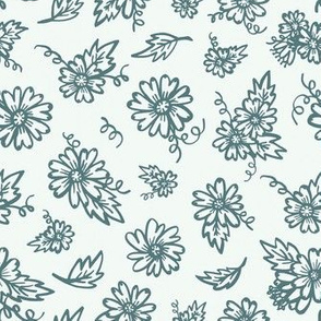 Flower Doodles - Teal & Cream