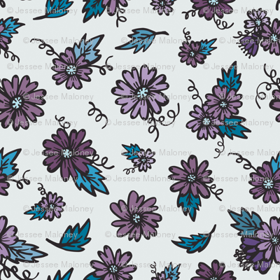 Flower Doodles - Teal & Purple
