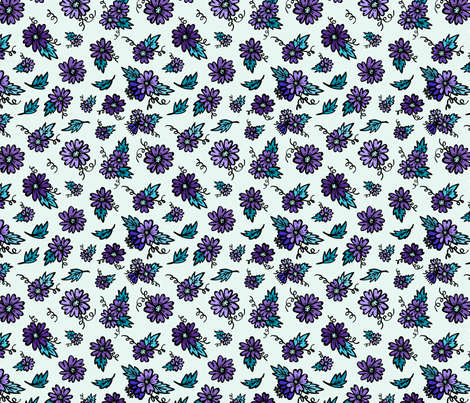 Flower Doodles - Teal & Purple fabric by jesseesuem on Spoonflower - custom fabric