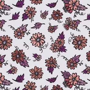Flower Doodles - Oranges & Purples