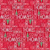 Personalised Name Fabric - Christmas Trees on Red