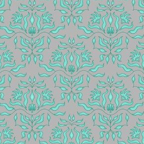 Seaweed damask - teal on grey