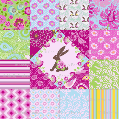 Bunny and Blooms Cheater Quilt in Girly Colors :)