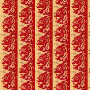 lion dog red antique