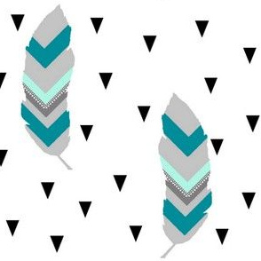 Tribal feather mint and teal