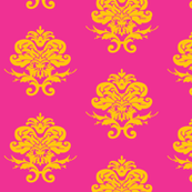 Saffron and Orchid Pink Damask