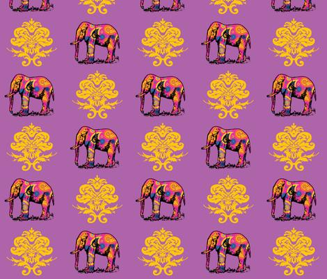 Paisley Elephant Damask fabric by littleliteraryclassics on Spoonflower - custom fabric