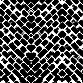 Black and white hand painted zigzag