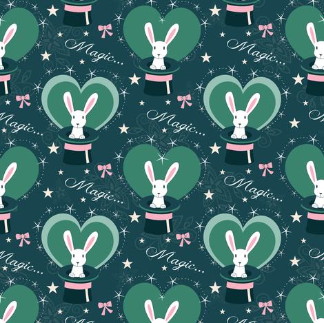 magic benny bunny fabric by lilliblomma on Spoonflower - custom fabric