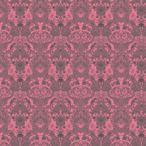 Parrot Damask ~ Pink & Grey ~ Petite