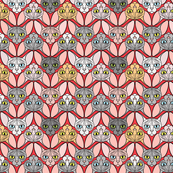 Sphynx Cat Chevron Red Background