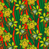 Daffodils on bright red