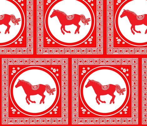 Year of the Horse Cut Out fabric by redbicycle on Spoonflower - custom fabric