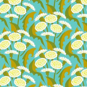 Floral print with dandelion